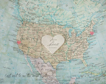 USA Map Print Poster, Map of the USA, Custom America Map, Travel Art, Wedding Gifts Personalized, Wedding Guest Signing Board Alternative