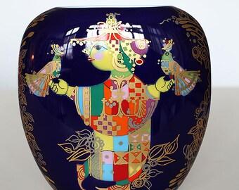 Big blue Bjørn Wiinblad vase, Rosenthal, Studio-Linie, Germany, 70'ties