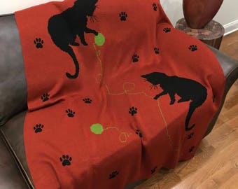 Throw Blanket, Cats Playing, Knitted In USA