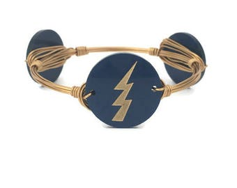 Tampa Bay Lightning Wire Wrapped Bangle - Bourbon and Boweties Inspired