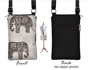 Fabric iPhone 6 / Plus Case Sling Bag Elephant Cell Phone Purse Small Cross Body Bag,  Zipper Pocket, gray black RTS