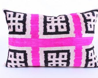 Ikat, Velvet, Pillow Cover, Uzbek, Soft, Ikat, Black, White, Pink, Pillow, Velvet Pillow, Decorative Throw Pillow Cover, Accent Velvet,