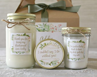 Thank you Bridesmaid Gift Set / Spa Gift Set / Candle Gift Set / Personalized Bridesmaid's Gift / Bath Salt / Sugar Scrub / Greenery Wedding