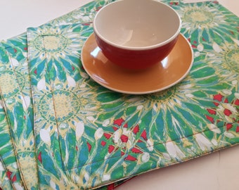 Neue moderne Stoff Tischsets / / Frühling Dekor Tischset Sets / / gesteppte Tischsets / / grün Baumwolle Stoff Tischsets / / Geschenk für Mama