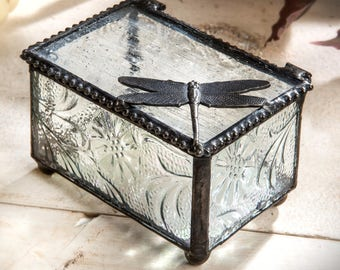 Dragonfly Glass Keepsake Box Gift for Gardener Nature Inspired Jewelry Box Botanical Embossed Glass  Box 291