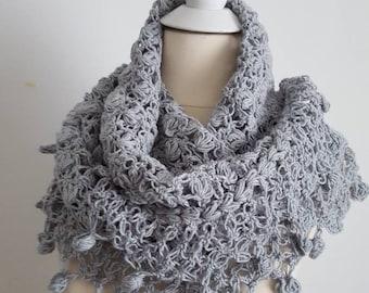 Grey wedding shawl, winter wedding shawl, crochet shawl, bridal shrug, grey shawl, grey wedding shawl