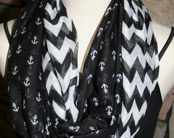Nautical Anchor Chevron Black Infinity Scarf Polyester Circle Loop Scarf Infinity Scarf Chunky Cowl Ship Anchor-Womens Accessories