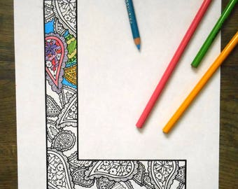 Coloring Pages Of Abc Blocks : Coloring letter l etsy