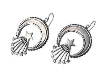 Crescent & Stars Earrings     moon silver gold dangle sterling star