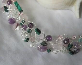Amethyst, Rose Quartz & Malachite Crochet Wire Necklace