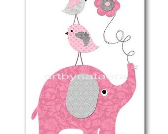 Elephant Nursery Art Printable Art Nursery Digital Download Children Art Baby Girl Nursery Digital Download Art 8x10 11X14 INSTANT DOWNLOAD