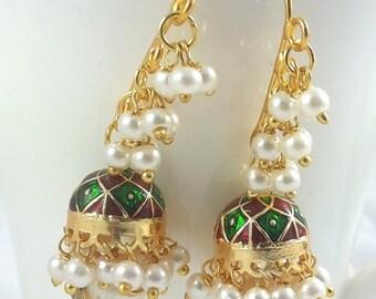 Summer Sale 50% Jhumka Earrings, Indian Earring, Pucchi Jewelry , Indian Jhumka, Green Jhumka, 24K Gold Plated Earrings, Pearl Earring