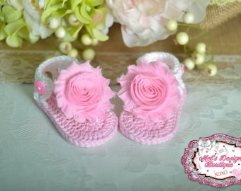 Pink sandals - crochet baby shoes - baby sandals - booties - baby crochet sandals - summer sandals - 0-6 month - pink - baby gift - baby