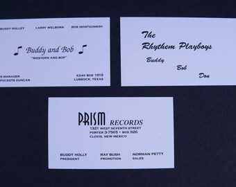 3 Different Replicas of Buddy Holly and the Crickets Actual Business Cards, VERY RARE, Free Shipping