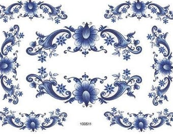 VinTaGe XL BLuE DeLfT FLoRaL SWaGs ShaBby DeCALs ~FuRNiTuRe SiZe~