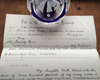 English Legal Ephemera Last Will and Testament Dated 31st May 1924. Hand written Script style. Farming family Middleton Manchester