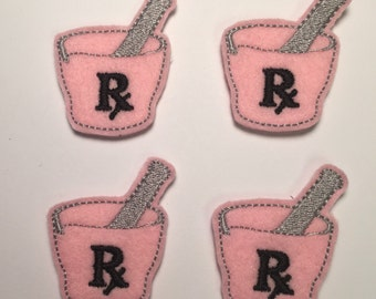 Mortar and Pestle Pink Pharmacy RX Embroidered Felt Applique
