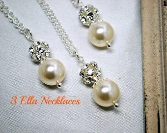 Set of 3, Three Swarovski Ivory Pearl Bridesmaids Necklaces, Rhinestone, Bridal Gifts, Pendant Pearl Necklace, Bridesmaids Necklaces