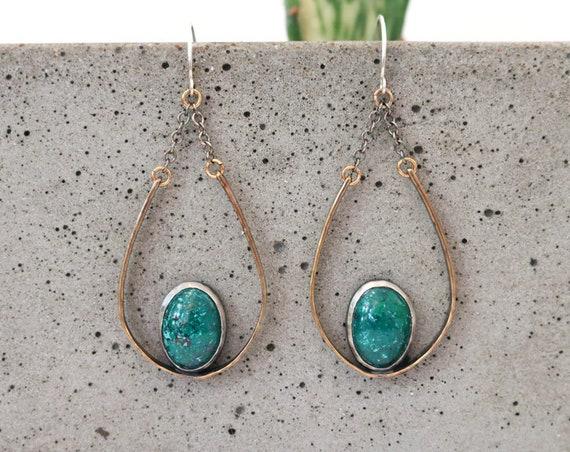 One of a Kind Brass and Silver Jasper Teardrop Chandelier Earrings