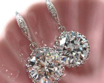 Pamela - Simple Cubic Zirconia Drop Earrings, gifts for her, Big Diamond Earrings, Sparkly earrings, bridal earrings, bridesmaid earrings