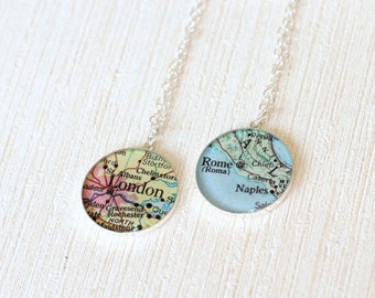 Personalized Location Necklace, Custom Location Necklace, Silver Map Necklace, Traveler Map Necklace, Location Jewelry, Map For Her