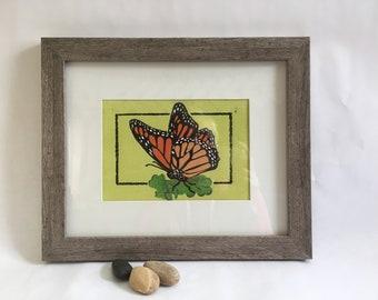 Linocut print Monarch butterfly