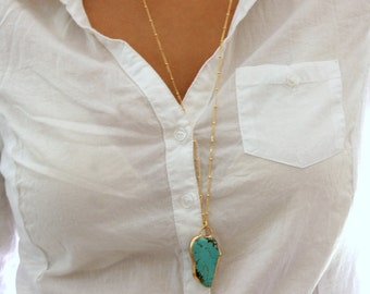 Raw Turquoise Gold necklace, Gemstones Necklace, Delicate 24k Gold  Necklace, Turquoise Necklace, Women Gift, December Birthstone,
