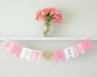 Baby Shower Banner Pink and Gold - Pink and Gold Girl Baby Shower Decor - Pink and Gold Decor It's  A Girl - Baby Shower Decorations