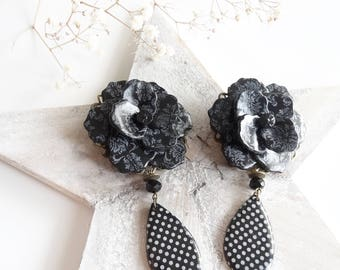 Large polka dots and flower printed baroque clip earrings