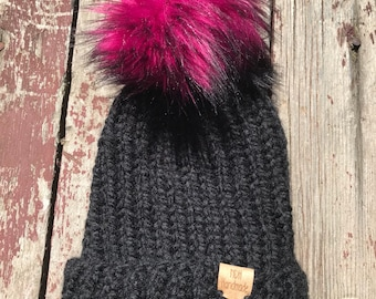 Knitted Black Beanie with Hot Pink and Black pom pom