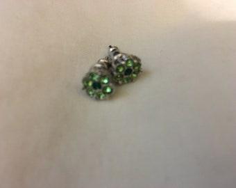 green crystal flower stud earrings