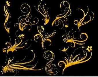 Gold Foil Swirl Clipart Gold Swirls Clip Art Vector Flourish Digital Scrapbooking Wedding Invitations Silhouette