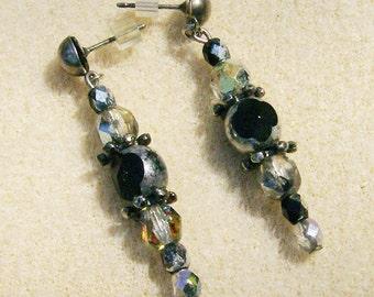 Vintage Bead Earrings - Handmade, Silver, Black & Clear Earrings on Silver Posts by JewelryArtistry - E644