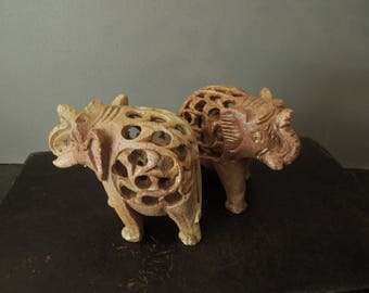 Vintage Carved Stone Elephant Figurines - Good Luck Gift - Collection Collectible Brown Statue
