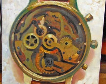 Custom Original MENDOZA Realism oil canvas painting modern vintage rolex watch classic Avant garde made to order