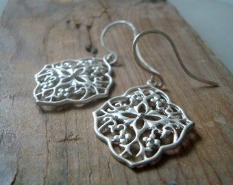 Moroccan Silver Earrings Sterling Silver Modern Jewelry Gifts Under 30 Large Dangles Silver Jewelry Ethnic Statement Jewelry Boho Chic