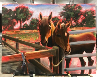 Mother and foal painting