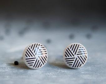 Stud Earrings, Geometric Earrings, Black Earrings, Tribal Earrings, Casual Earrings, Minimal Earrings For Men, Gift For Men, Ear Post