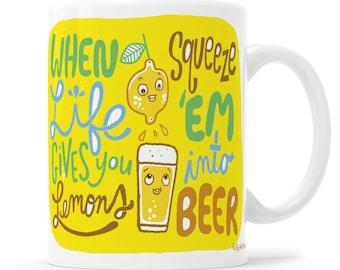 Beer Mug Beer Cup Funny Beer Beer Humor Lemon Beer Funny Mug Craft Beer Mug Funny Beer Mug I Love Beer Drink Beer Beer T Shirt Adult Mug