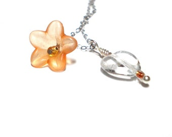 "Glass heart pendant necklace - orange flower & dainty clear glass heart charm, sterling silver 18"" chain, valentine gift for her"