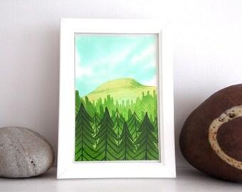 ORIGINAL Painted Illustration | Spring Mountain