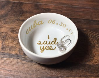 Trending Now - I Said Yes Ring Dish + Date and Location   Custom Engagement Ring Holder   Personalized Jewelry Dish   Engagement Gift