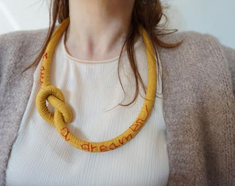 I AM a dreamer hand embroidered necklace