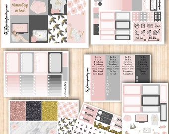 Staycation, Erin Condren and Classic Happy Planner kit, Weekly Planner Sticker Kit, Premium Matte, Glossy, Reading