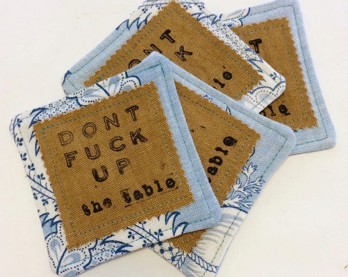 Featured listing image: Rude Coasters, Set of 4 - Don't Fuck Up the Table