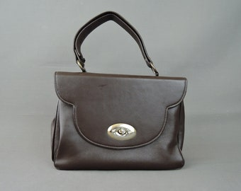 Vintage Brown Vinyl Purse 1960s, 7x10 inches Classic Day Handbag