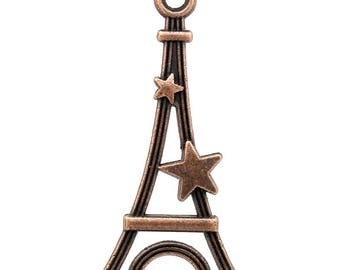 PB170 - Set of 10 Eiffel Tower charms and antique brass star copper 29mm