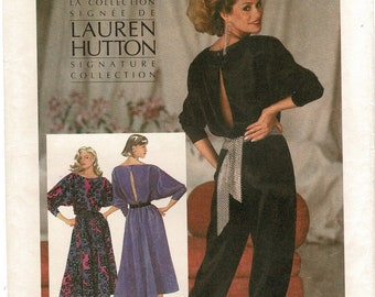 Simplicity 6642 Misses Loose Dress, Jumpsuit Dolman Sleeve Sewing Patterns for Women size 12 14 16 Bust 34 36 38 Lauren Hutton Vintage Uncut