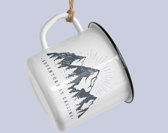 Adventure is Calling,  enamel camping mug.