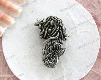 Mermaid Goddess Beads, Lead Free Pewter Mermaid Beads, Made in the USA, Copyright©Protected Pewter Beads, KF Signature Series K276AP